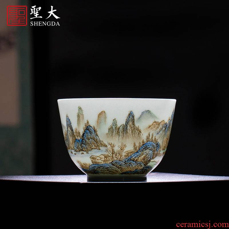 Santa teacups hand - made ceramic kung fu new pastel colored green landscape master cup sample tea cup of jingdezhen tea service