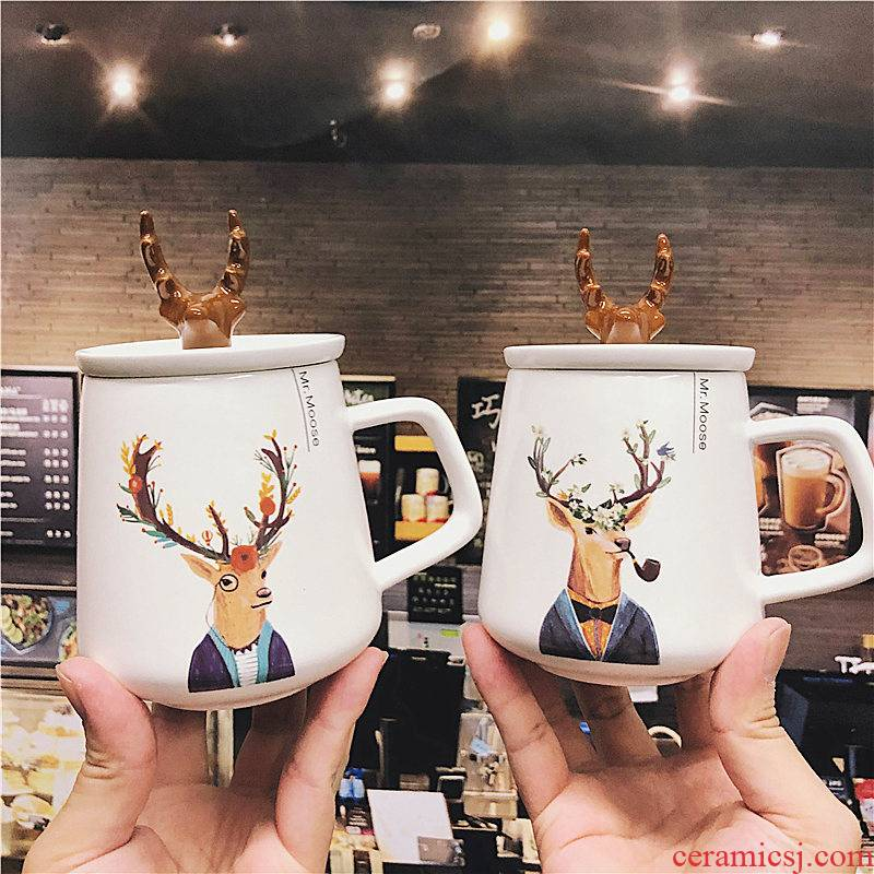 The Nordic idea couples elk ceramic cup mark cup with cover water tide male and female students milk coffee cups