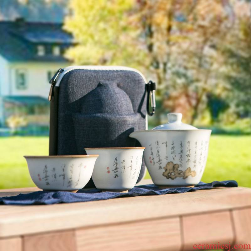 Your up crack of portable package a pot of two cup of jingdezhen ceramic tea set with teapot is suing travel tea set