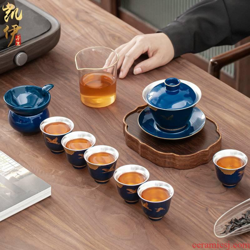 Rui crane GongTingLiu silver tea tureen tea cups set jingdezhen ceramic kung fu tea tea silver cup