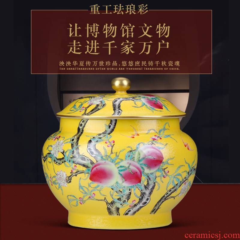Jingdezhen ceramic colored enamel caddy fixings furnishing articles bigger sizes hand - made peach sitting room of Chinese style household adornment tea cylinder