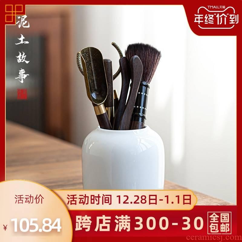 Jingdezhen sweet white tea way 6 gentleman suit tea accessories mercifully tea utensils combination solid wood ChaGa kung fu