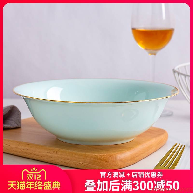 Jin Bianying green ipads porcelain bowl large household ceramics northern wind tableware soup basin creative rainbow such as bowl bowl celadon bowls