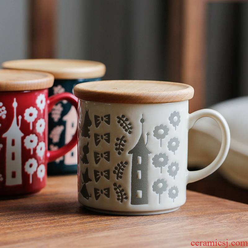 Qiao mu LH moomin cups with cover wood cover glass ceramic keller cup Japanese Nordic home lovely gift box