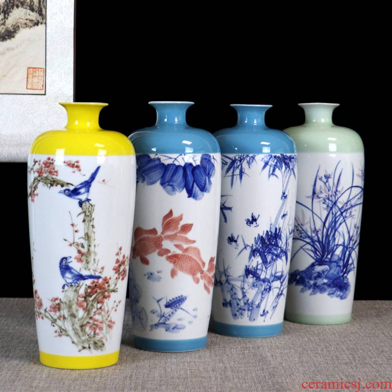 Jingdezhen ceramics vase bamboo country - specific ones water furnishing articles sitting room flower arranging Chinese desktop office study ornaments