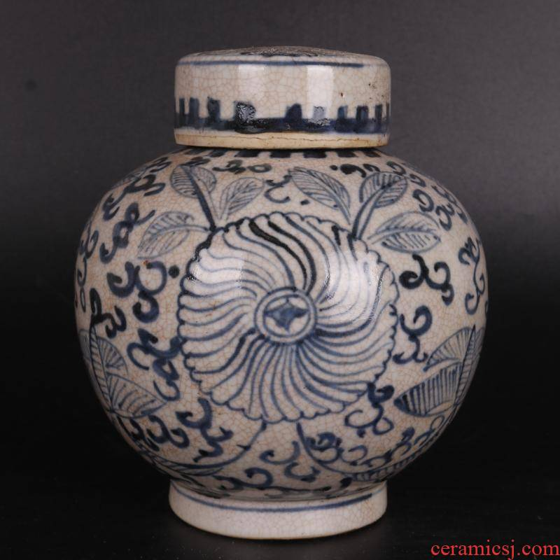 Ming blue and white pattern caddy fixings hand - made antique crafts porcelain household of Chinese style furnishing articles antique curio collection