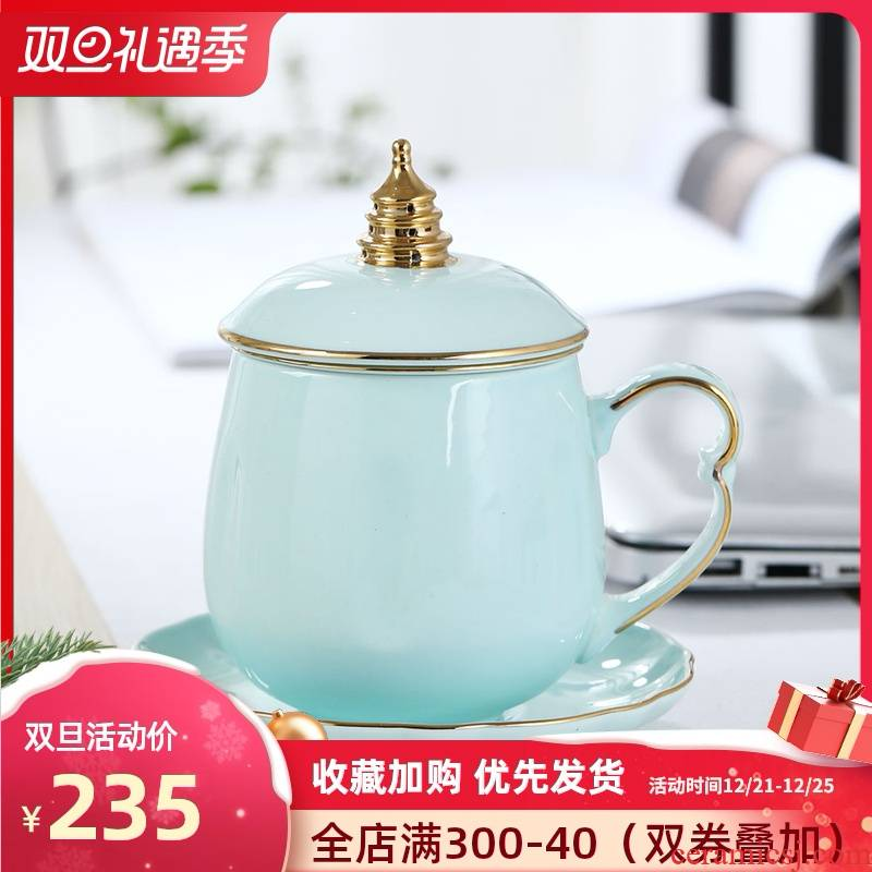 Jingdezhen ceramic cups celadon filter tea tea cups with cover household glass office separate tea cup