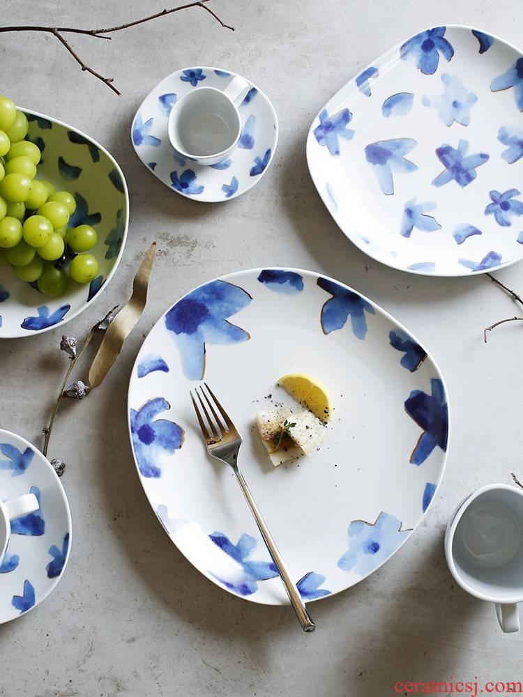 Qiao mu LH Japanese creative irregular ceramic household deep dish dish plates mugs of coffee cups and saucers tea cups