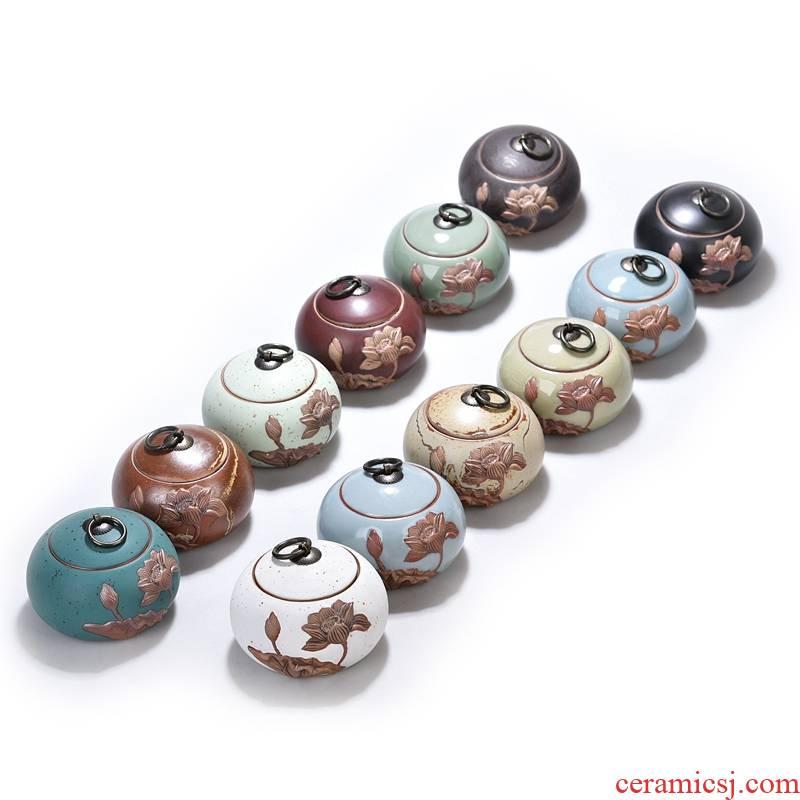 Hui shi ceramic tea pot lotus world elder brother up with seal storage jar puer tea warehouse up tea