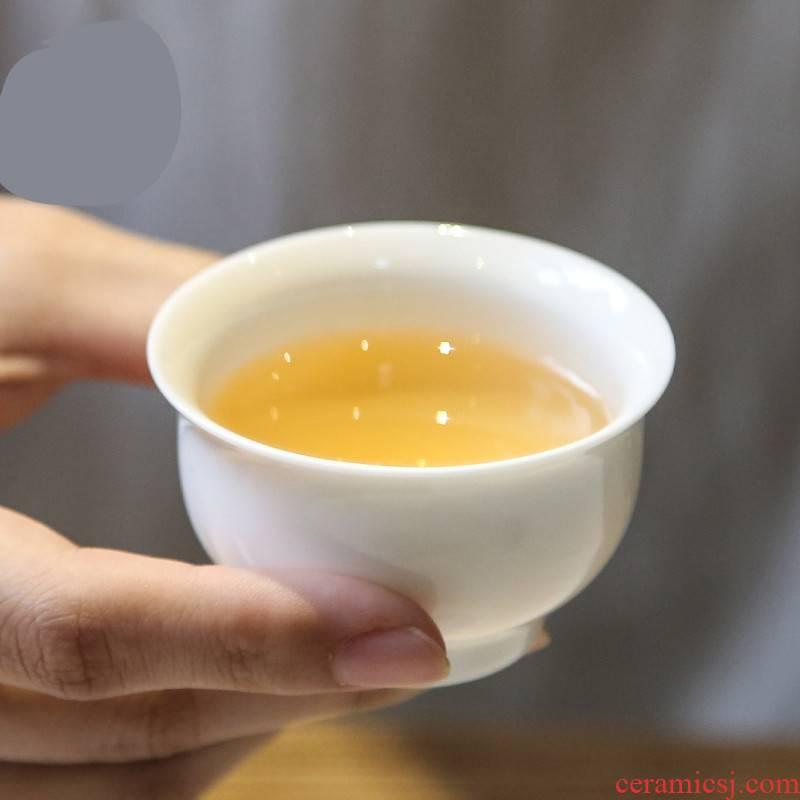 The Poly real boutique small scene of jingdezhen ceramic cups kung fu tea set sample tea cup mini white ceramic cup individual market metrix