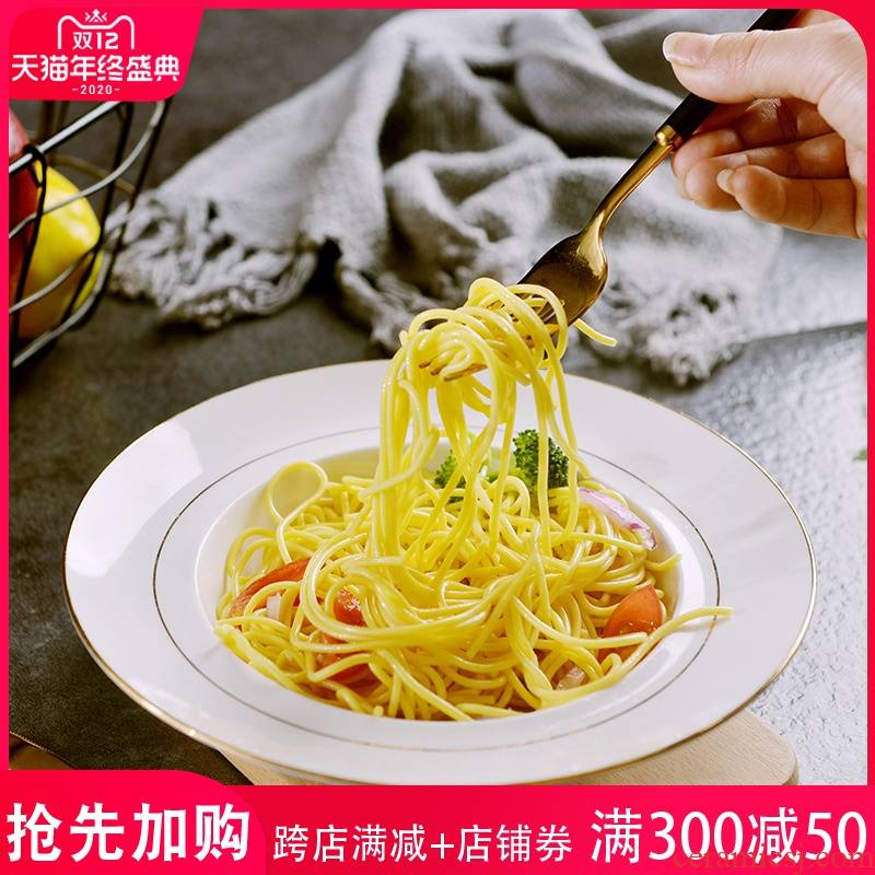 Creative Jin Bianshang dish 8 inches pasta dish home 0 European round the ipads porcelain ceramic deep dish