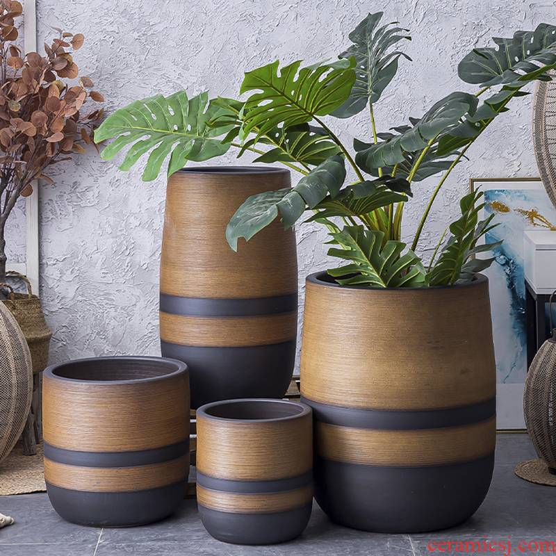 Restoring ancient ways is the ground flower POTS, large diameter creative landscape ornaments furnishing articles flower arranging hydroponic pockets some ceramic pot