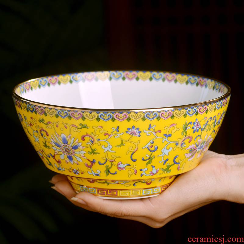 7 in jingdezhen ceramics rainbow such use Chinese style household enamel color big pull noodles soup bowl high anti hot dishes