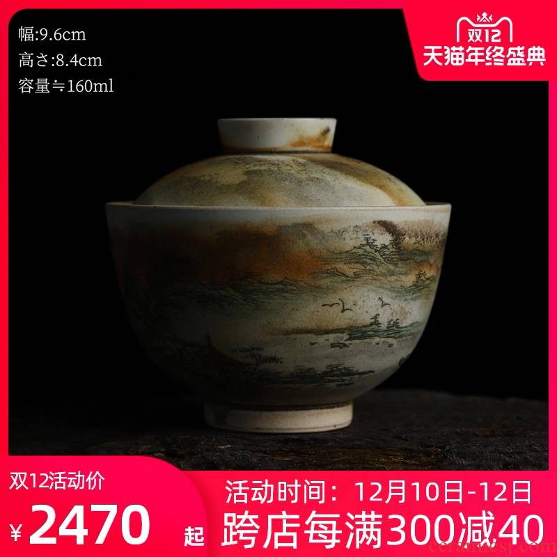 Recreational product water firewood hand - made tureen single ceramic household kung fu tea tea bowl 160 ml