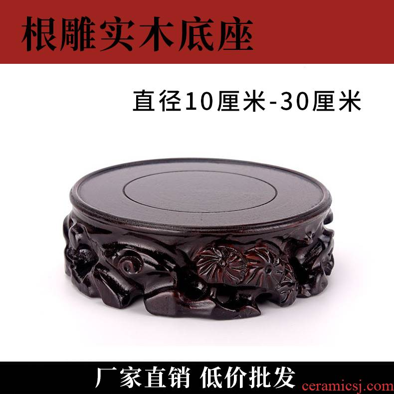 Solid wood base vase root carving stone roots round flower pot tray aquarium gourd wooden statues jars mat