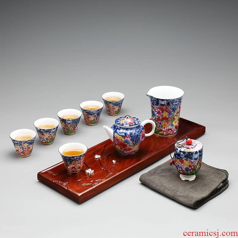 Tea set kung fu Tea set the whole household jingdezhen archaize colored enamel porcelain teapot of a complete set of Tea cups