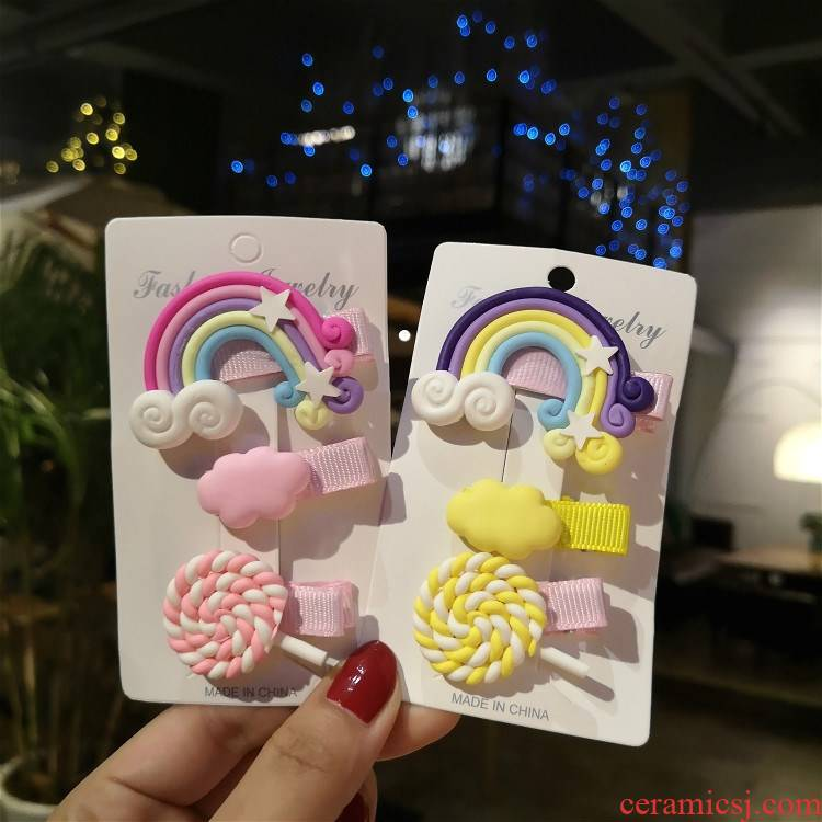 The Children 's han edition hair hairpin manual soft TaoCaiHong lollipop head ornaments hairpin security card clip of the girls