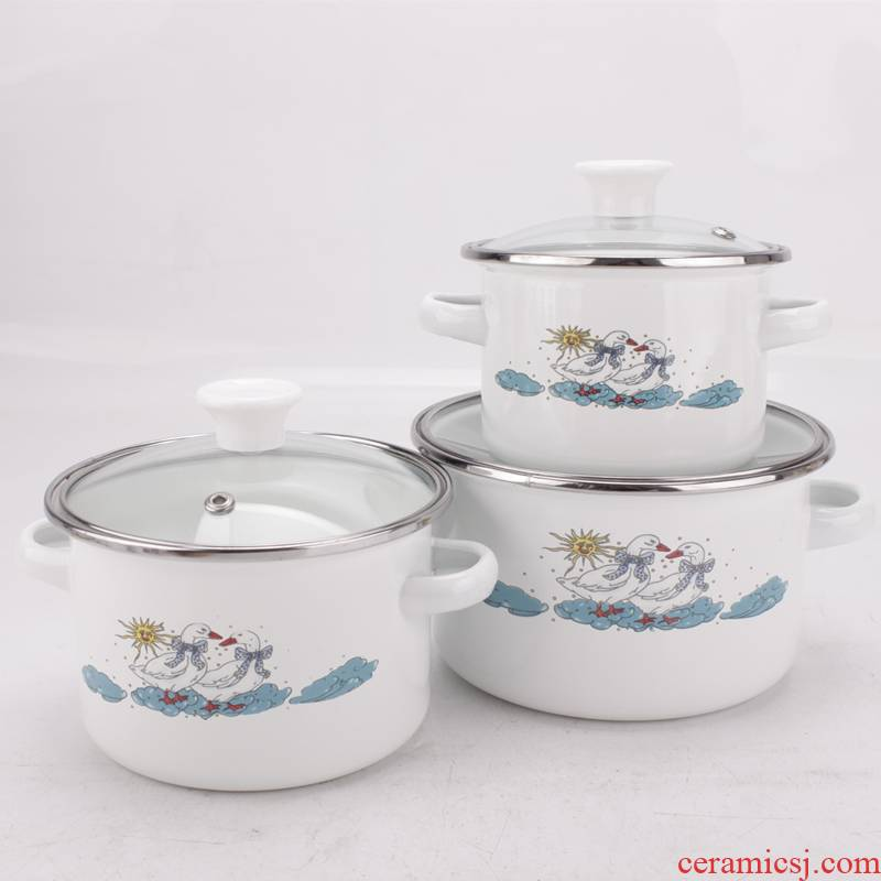Baby children enamel bowls with cover household enamel pot large capacity refrigerated seal preservation bowl ears always mercifully rainbow such use