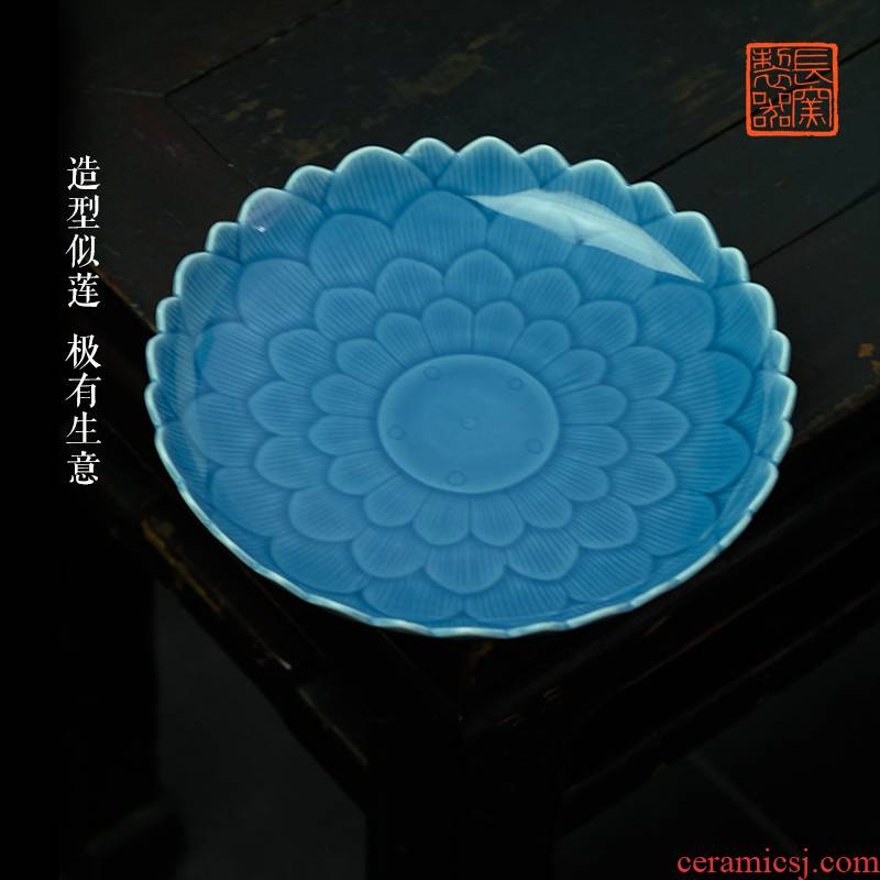 Offered home - cooked at flavor pot of dark blue glaze ceramic snack plate of fruit tray plate carved lotus - shaped jingdezhen ceramic tea set