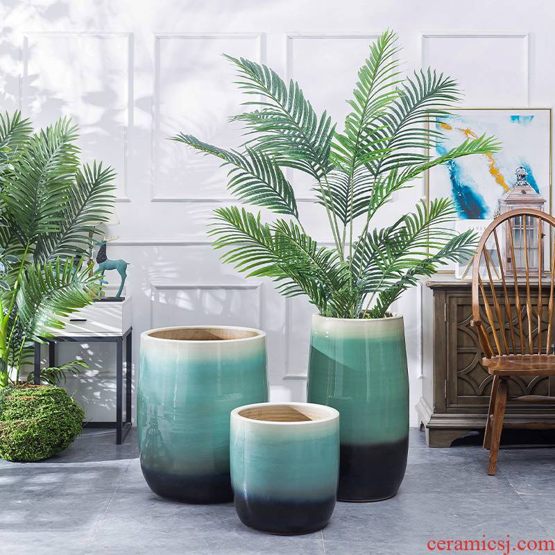 Northern wind ceramic oversized pot home ground vase green plant hydroponic flower implement large diameter of interior decoration