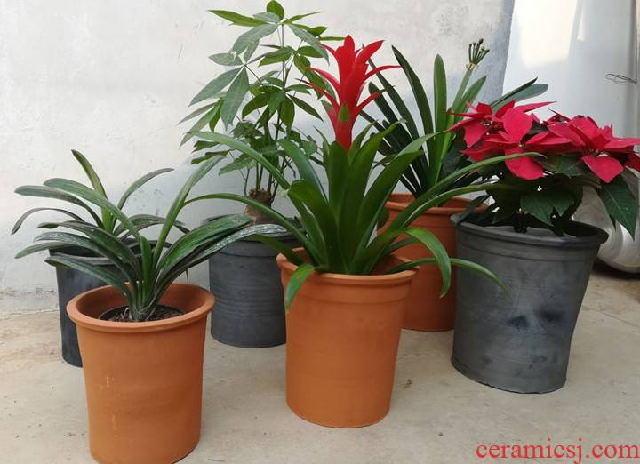 High red pottery flowerpot ceramic breathable clivia flower pot to heavy clay old mud made of baked clay
