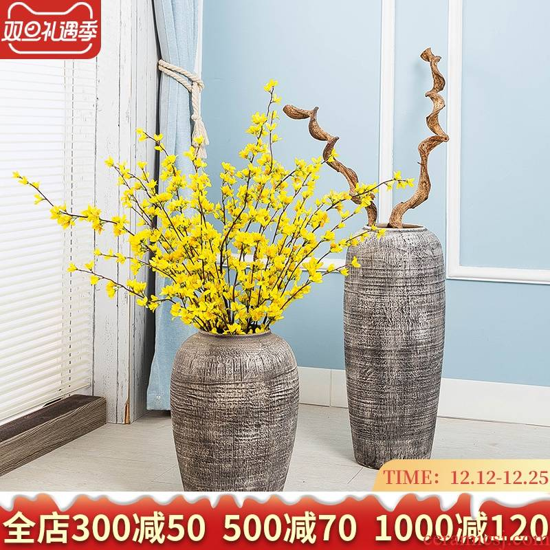 Jingdezhen ceramic vases, dried flowers thick clay ground large flower implement home sitting room restoring ancient ways of modern furnishing articles flower arrangement