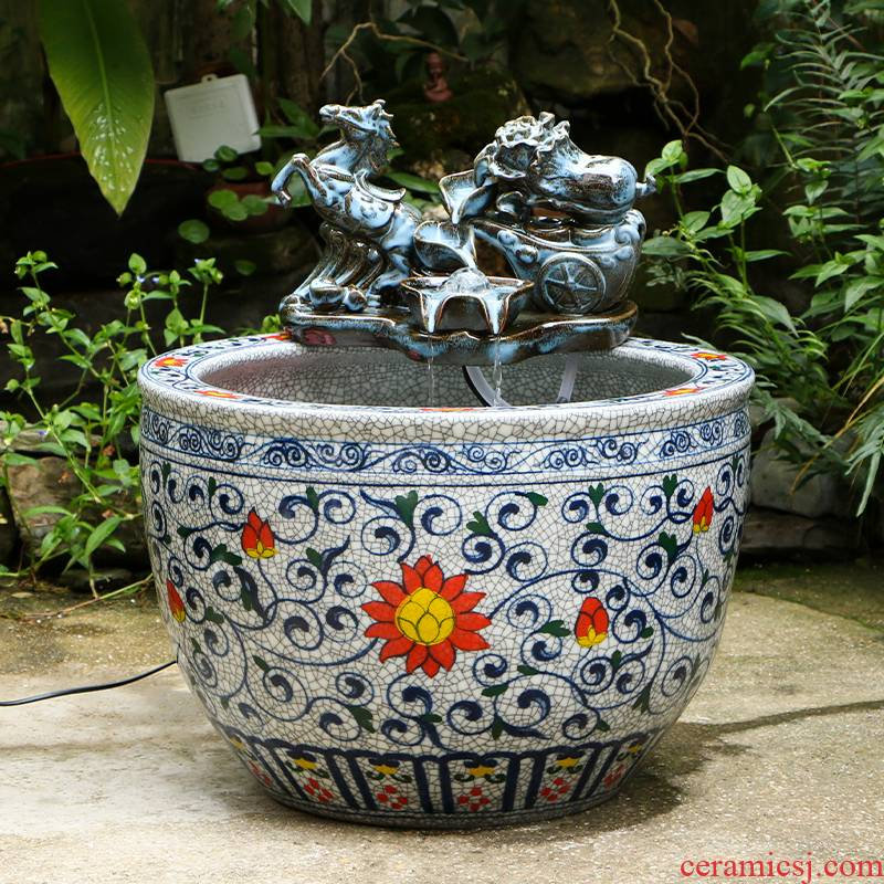 Ceramic tank automatic cycle water filter office creative lotus sitting room be born to raise a goldfish bowl