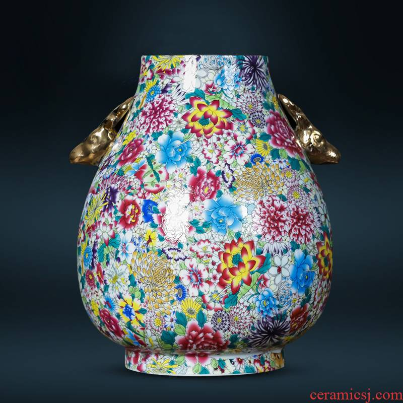 Jingdezhen ceramics archaize ears enamel vase Chinese rich ancient frame sitting room adornment is placed TV ark
