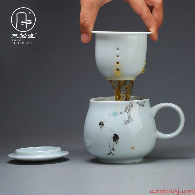 Three frequently hall jingdezhen ceramic cup with cover filter keller cups tea longquan celadon S61018 office