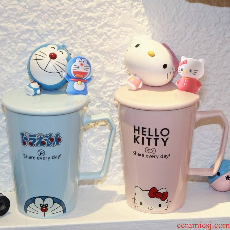 Milk cup cartoon keller picking model of water glass ceramic cup with cover spoon, lovely pair of female move trend