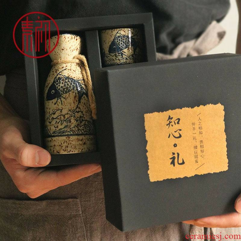 Japanese creative wine wine gift box burn hip flask set manually archaize ceramic liquor a drinking rice wine liquor