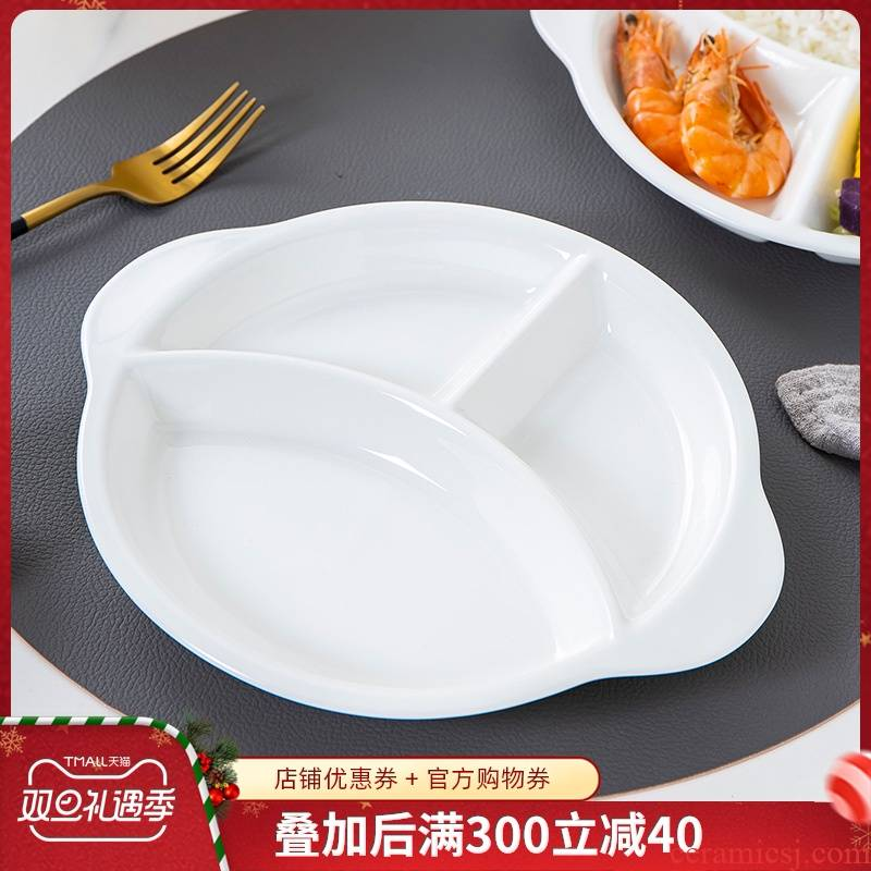 Healthy ipads porcelain frame plate one breakfast food household ceramics tableware children white plate three separate plates