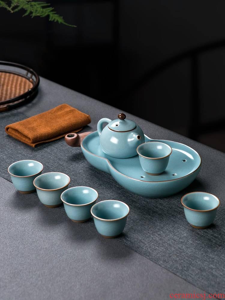 Jingdezhen ceramic your up kung fu tea set a small set of simple portable travel tea set tea tray storage type teapot