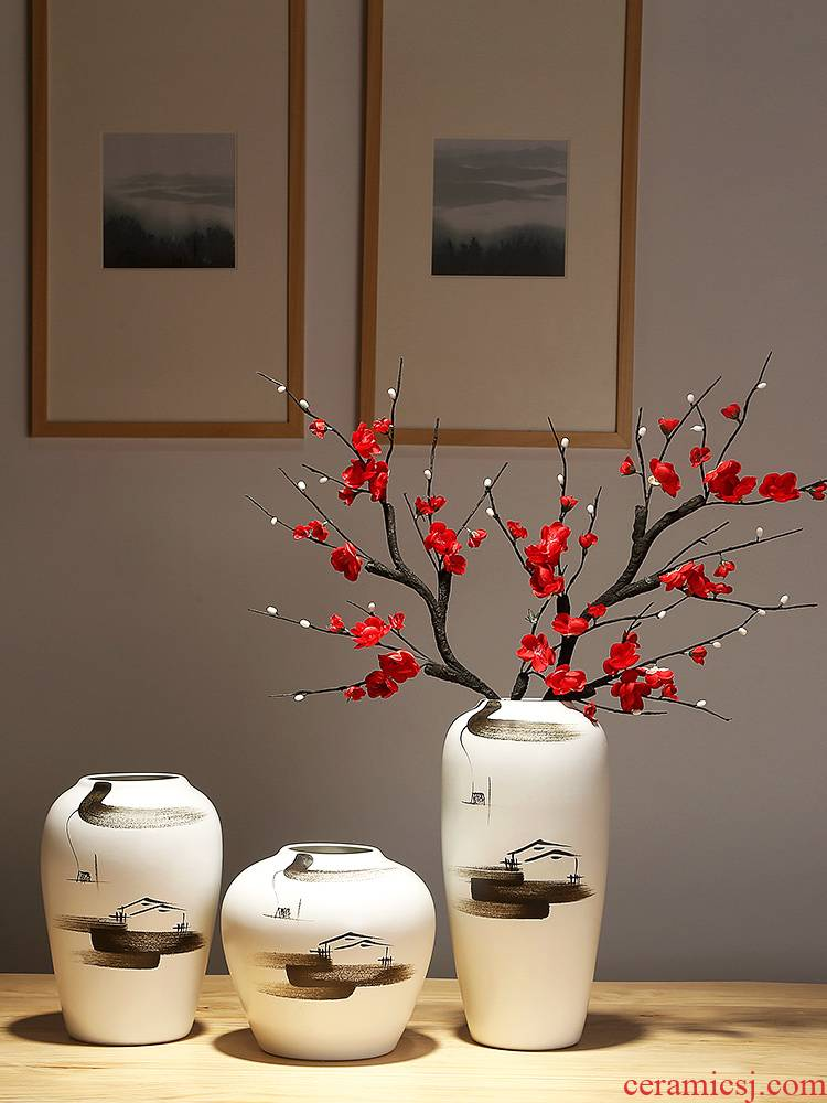 Modern new Chinese style ceramic table antique vase, the sitting room porch teahouse adornment zen dried flowers flower arrangement furnishing articles