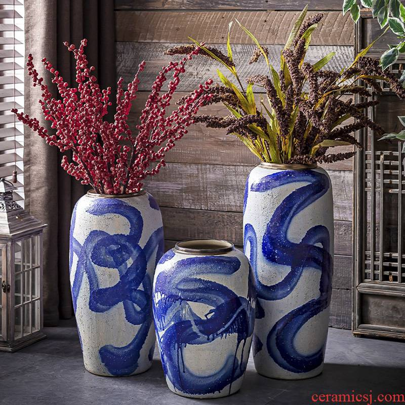 Jingdezhen European American ceramic vase of large sitting room furnishing articles of Chinese style restoring ancient ways courtyard porch floral arranging flowers