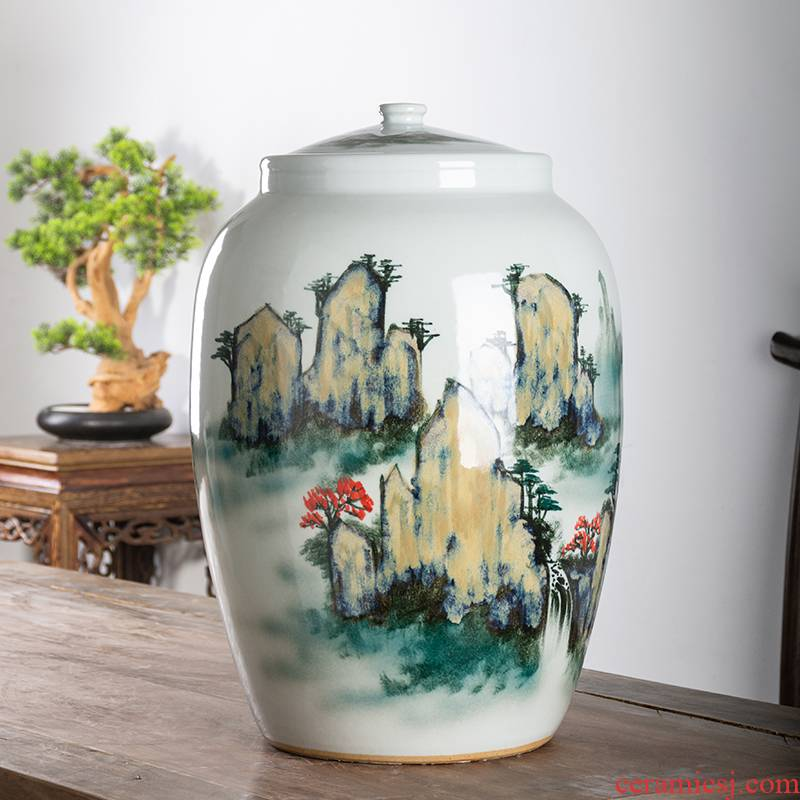 Jingdezhen ceramic barrel household rice storage box 25 jins 50 kg sealed insect - resistant moistureproof rice such as pot old ricer box