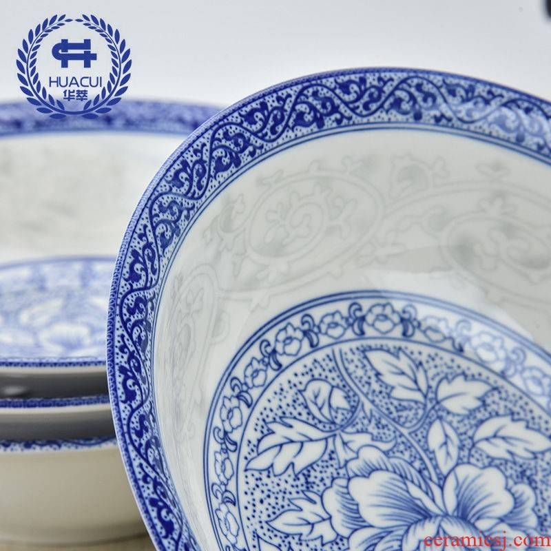The Japanese kitchen household pull rainbow such use large soup bowl eat bowl mercifully rainbow such use ceramic tableware at upstream of blue and white porcelain bowl