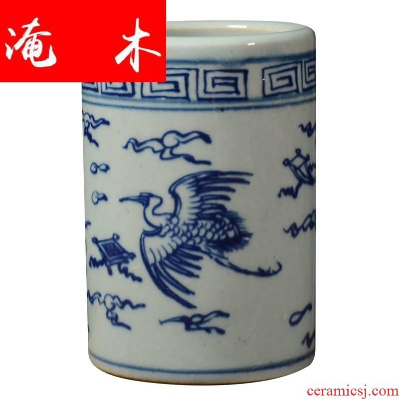Submerged wood archaize of jingdezhen blue and white porcelain grain ceramic tea set tea accessories receive tube pen container 6 gentleman