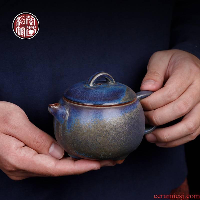 Chen Juncai jun porcelain teapot large checking retro kung fu tea set undressed ore glaze ceramic up single pot Chinese wind