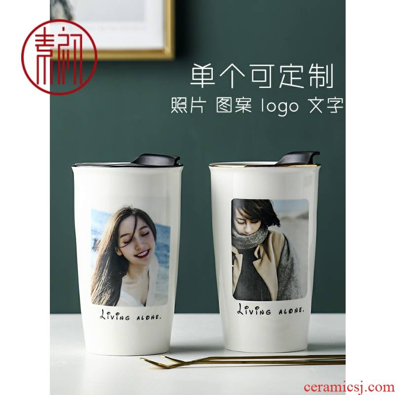 Creative ceramic cup with cover spoon move keller couples a coffee cup household tide mark cup custom printing photos