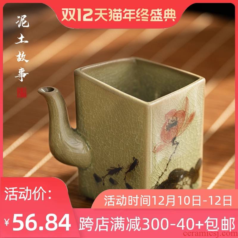 Jingdezhen ice to crack the up square hand - made ceramic cups kung fu tea set common cup size fair fair keller cup