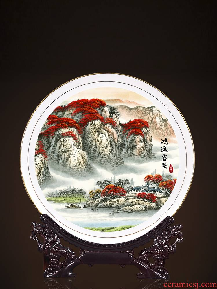 Jingdezhen ceramic decoration plate of new Chinese style sat dish hang dish sitting room porch ark, TV ark, creative gift furnishing articles