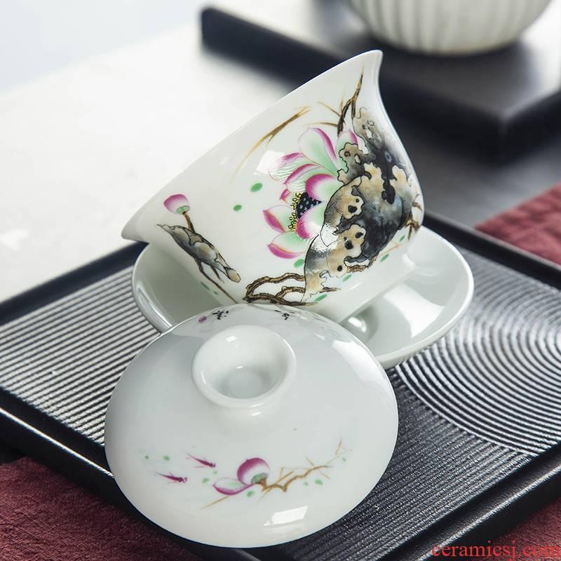 Pastel tureen ceramic bowl kung fu tea set three cups to new one personal capacity make tea bowl bowl of the big number