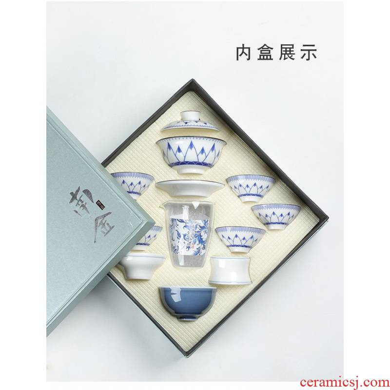 Hui shi gift gift box the tea sets suit custom LOGO kung fu tea cup hand - made master cup of blue and white porcelain pipe