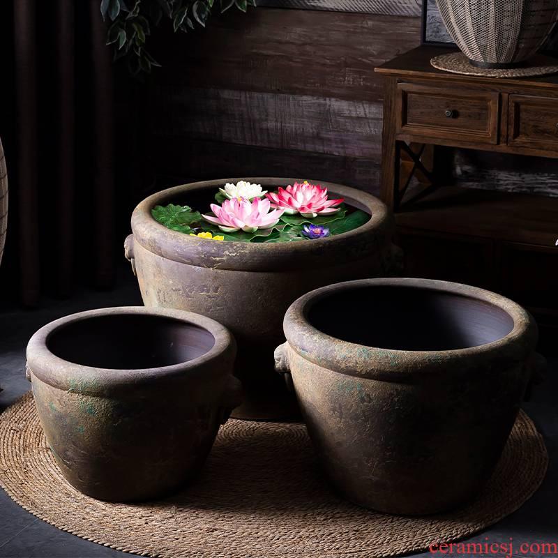 The Head ceramic VAT restoring ancient ways coarse pottery aquarium furnishing articles courtyard garden manual tank landing of large diameter flowerpot