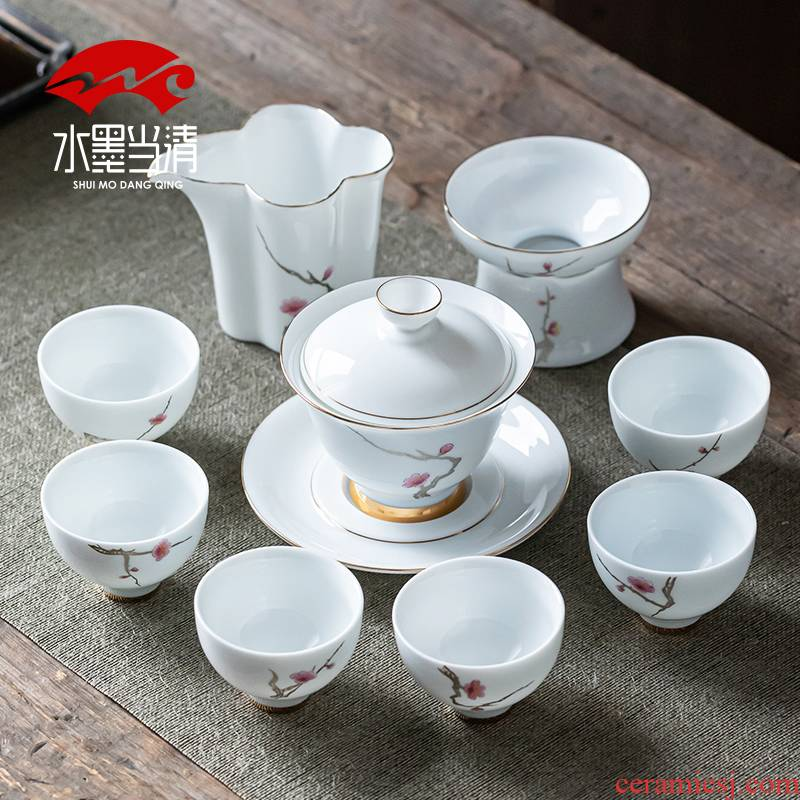 Dehua white porcelain tea set household kung fu ceramic cups up phnom penh tureen contracted a visitor office gift boxes
