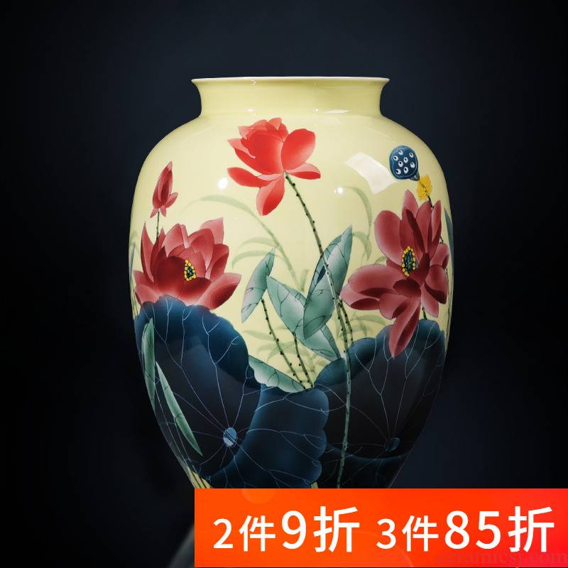 Jingdezhen porcelain ceramic hand - made pastel lotus big new Chinese style household vase furnishing articles sitting room adornment