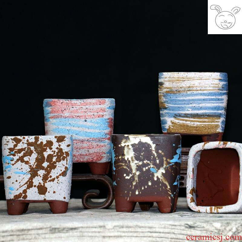 With feet square flowerpot meaty plant small flower pot biscuit firing breathable meat meat pot balcony miniature ceramic flower pot
