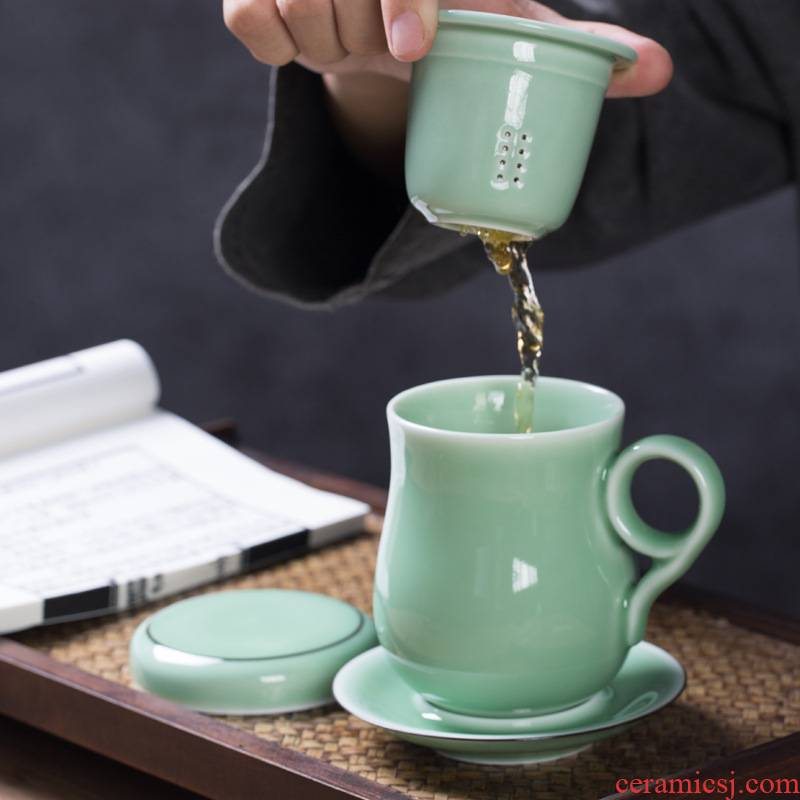 Longquan celadon ceramic keller cups with cover filter home office have one cup of tea cup tea separation