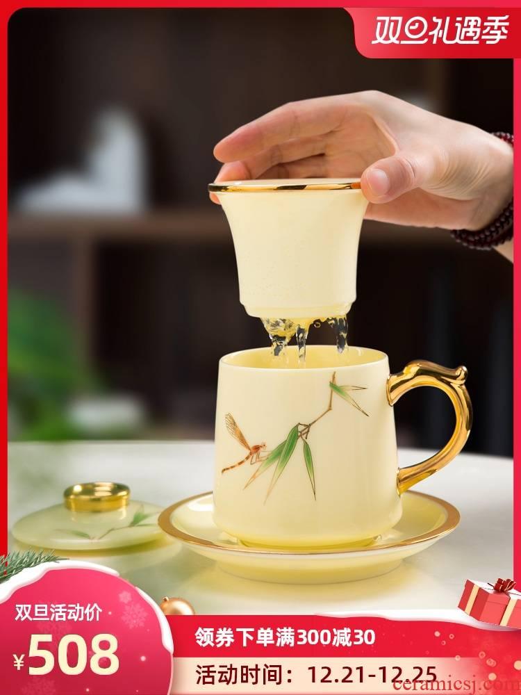 Office of jingdezhen ceramic cups tea cup fuels the suet jade porcelain tea Office separation filter glass